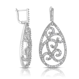 Eloquence 14k White Gold 1ct TDW Woven Floral Diamond Earrings (H-I, I1-I2)
