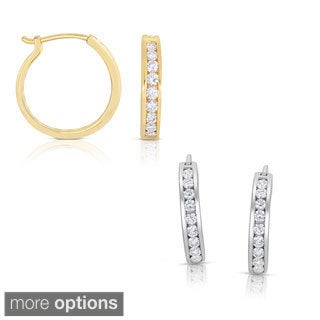 Eloquence 14k White Gold 1ct TDW Diamond Hoop Earrings (H-I, SI1-SI2)