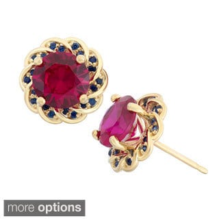 Gioelli Yellow Goldplated Sterling Silver Gemstones Flower Shaped Stud Earrings