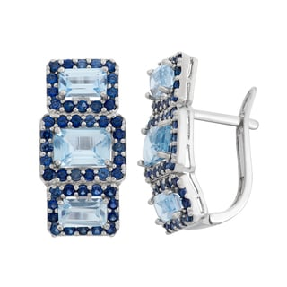 Gioelli Sterling Silver Created Aquamarine and Created Sapphire Latch Back Earrings
