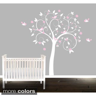 Girls' Nursery Swirl Tree Vinyl Wall Decal