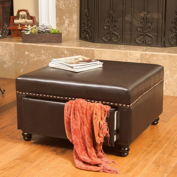 Darby Square Bonded Leather Storage Ottoman By Christopher Knight Home