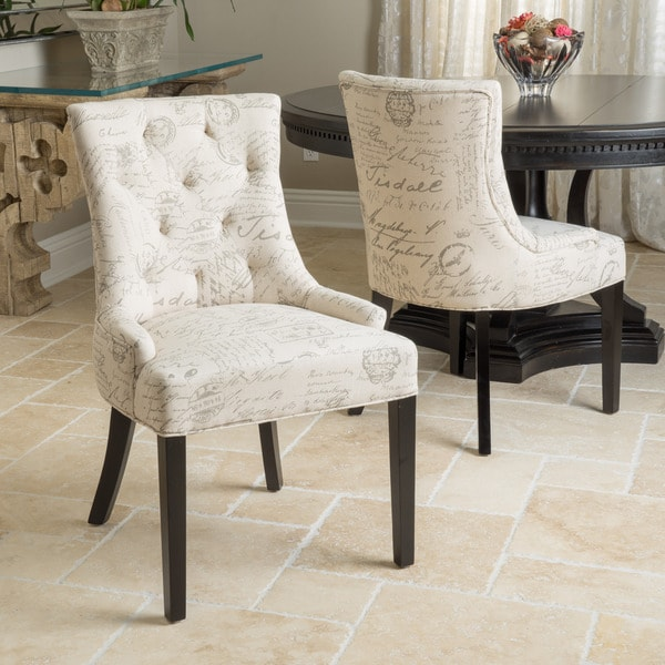 Hayden Tufted French Script Dining Chair (Set of 2) by Christopher Knight Home