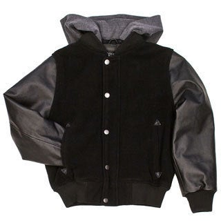 Boys Wool and Leather Sleeve Hooded Bomber Jacket