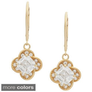 Gioelli 10k Gold Asscher Cut Cubic Zirconia Flower Dangle Earring