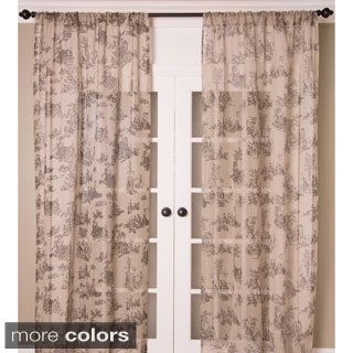 Toile Print Sheer Linen Curtain Panel