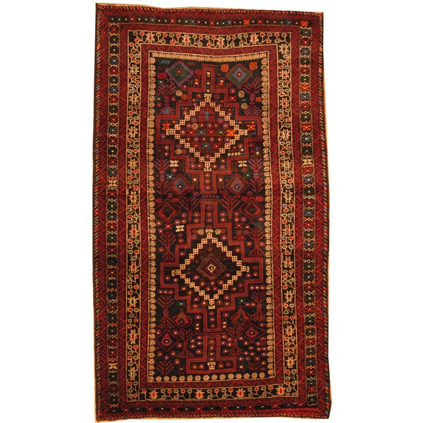 Herat Oriental Afghan Hand Knotted 1960s Semi Antique Tribal Balouchi Wool Rug 4