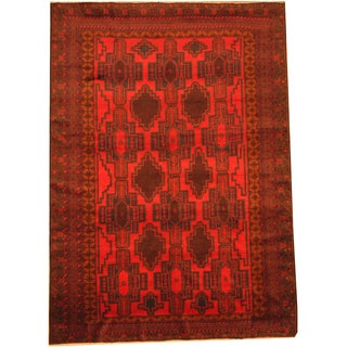 Herat Oriental Afghan Hand-knotted Semi-Antique Tribal Balouchi Red/ Brown Wool Rug (7'1 x 10')