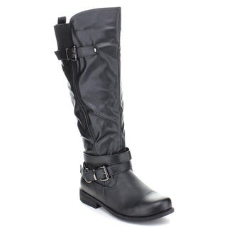 Fashion Focus Women's 'Michael-7' Buckled Knee-high Riding Boots