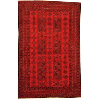Herat Oriental Afghan Hand-knotted Semi-Antique Tribal Balouchi Red/ Navy Wool Rug (6'3 x 9'10)