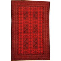 Herat Oriental Afghan Hand-knotted Semi-Antique Tribal Balouchi Red/ Navy Wool Rug (6'3 x 9'10) - 6'3 x 9'10