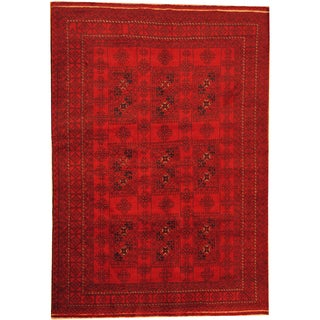 Herat Oriental Afghan Hand-knotted Semi-antique Tribal Balouchi Wool Rug (6'4 x 9'2)