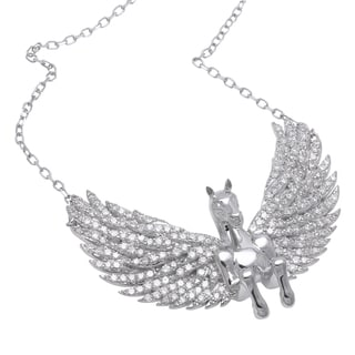Beverly Hills Charm 14k White Gold 1ct TDW Diamond Pegasus Horse Necklace