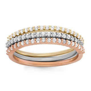 Gioelli Tri-tone Sterling Silver Created White Sapphire Stackable Ring (5 options available)
