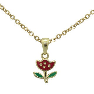 Junior Jewels Enamel Tulip Flower Pendant