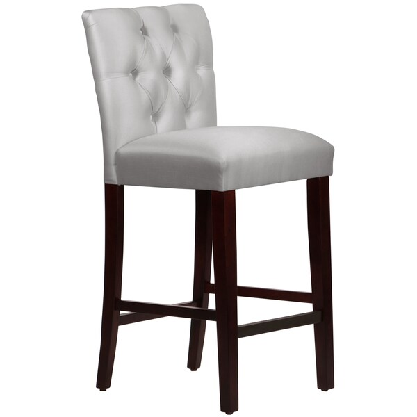 Counter stools set of 2 grey leather safavieh com - Made To Order Tufted Mor Barstool In Shantung Silver