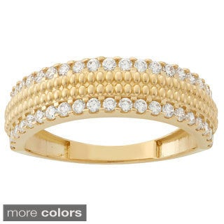 Gioelli 10k Gold Multi Round-cut Cubic Zirconia Designer Band Ring