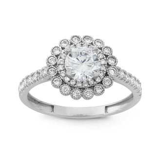 Gioelli 10k White Gold Round-cut Cubic Zirconia Flower Shaped Ring