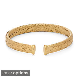 Gioelli Sterling Silver Basketweave Designer Cuff Bangle Bracelet