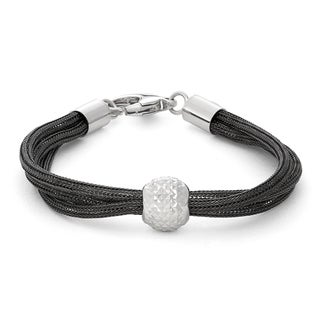 Gioelli Sterling Silver goldplated Multi Strand Mesh Bracelet With Center Diamond Cut Ball