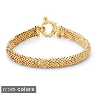 Gioelli Sterling Silver Popcorn Mesh Designer Bracelet