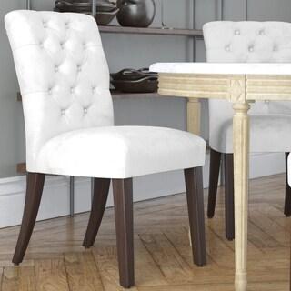 Made to Order Tufted Mor Dining Chair in Velvet White