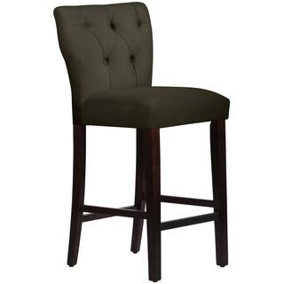 Skyline Furniture Tufted Hourglass Barstool in Velvet Pewter