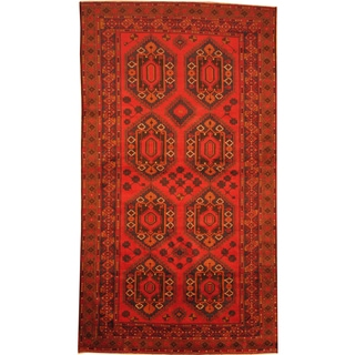 Herat Oriental Afghan Hand-knotted 1960s Semi-antique Tribal Balouchi Wool Rug (5'7 x 10')