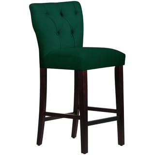 Skyline Furniture Tufted Hourglass Barstool in Velvet Emerald
