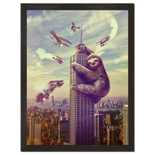 """Slothzilla"" 18 x 24 Inch Funny Art Print"