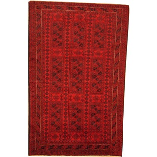 Herat Oriental Afghan Hand-knotted Semi-Antique Tribal Balouchi Red/ Navy Wool Rug (5'11 x 9'5)