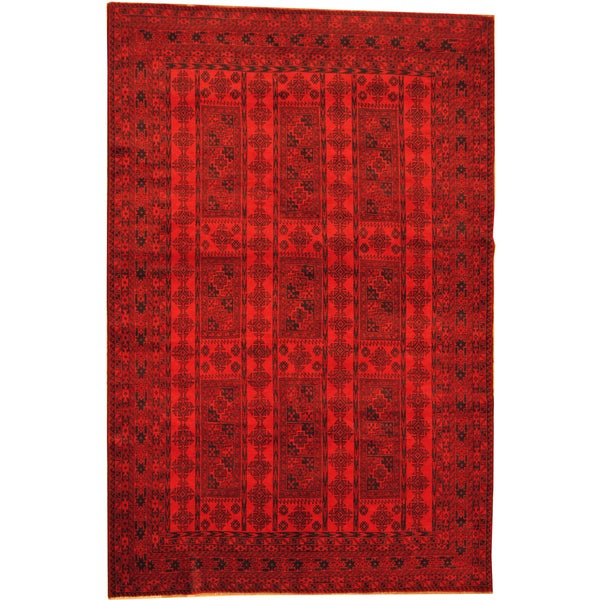 Herat Oriental Afghan Hand-knotted Semi-Antique Tribal Balouchi Red/ Navy Wool Rug (6'6 x 9'9) - 6'6 x 9'9