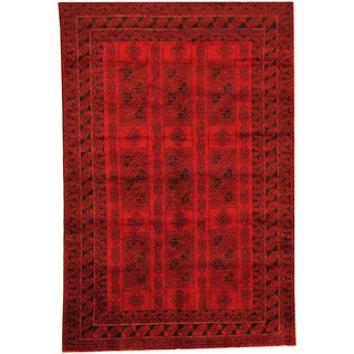 Herat Oriental Afghan Hand-knotted Semi-Antique Tribal Balouchi Red/ Navy Wool Rug (6'5 x 9'6)