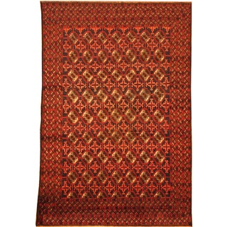 Herat Oriental Afghan Hand-knotted Semi-Antique Tribal Balouchi Navy/ Red Wool Rug (6'5 x 9'7)