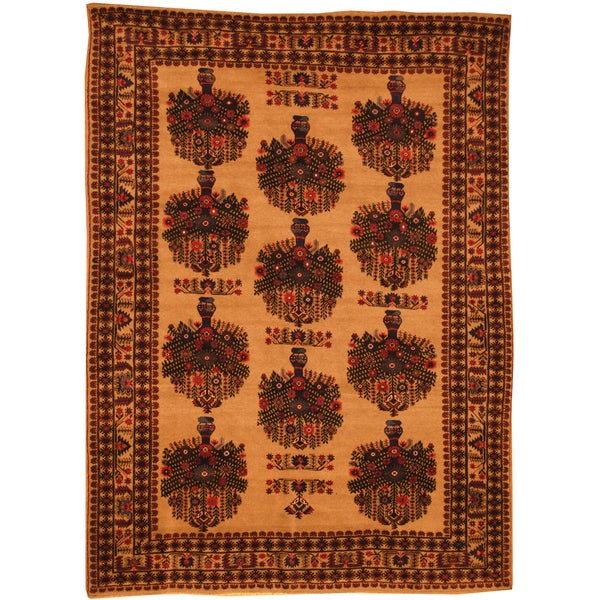 Herat Oriental Afghan Hand-knotted Semi-Antique Tribal Balouchi Beige/ Orange Wool Rug (6'11 x 9'4)