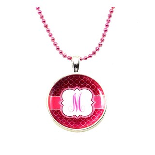 Pink Ball Chain Monogram Necklace