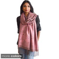 Fall/ Winter Flowers and Chain Print Cotton Blend Scarf