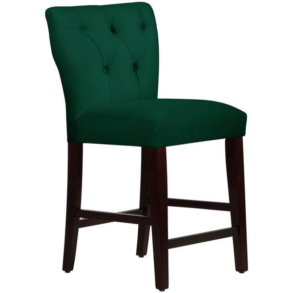 Skyline Furniture Tufted Hourglass Counter Stool In Velvet