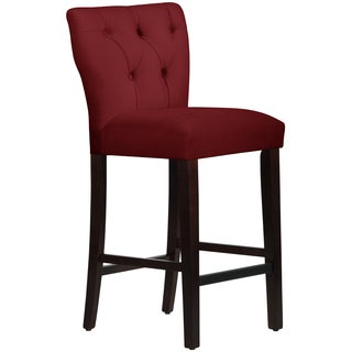 Skyline Furniture Tufted Hourglass Barstool in Velvet Berry