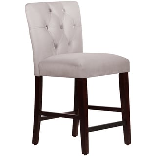 Made to Order Tufted Mor Counter Stool in Velvet Light Grey
