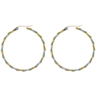 Carolina Glamour Collection Stainless Steel Two-tone Twist Large Hoop Latch Back Earrings