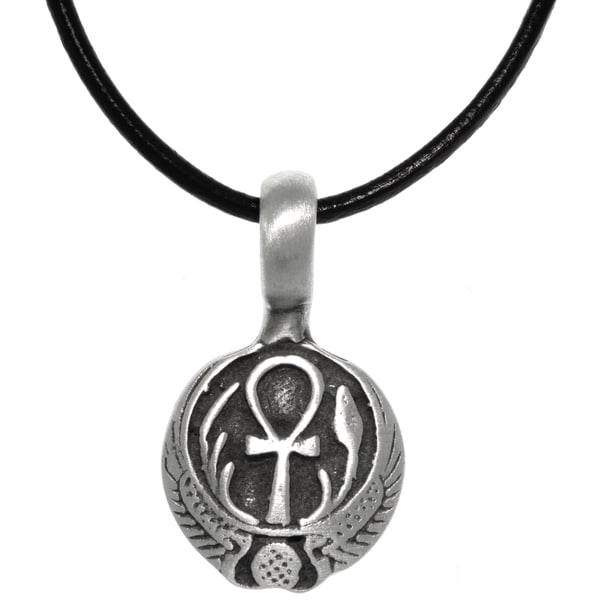 Pewter Egyptian Ankh with Wings Long Life Pendant on Black Leather Necklace