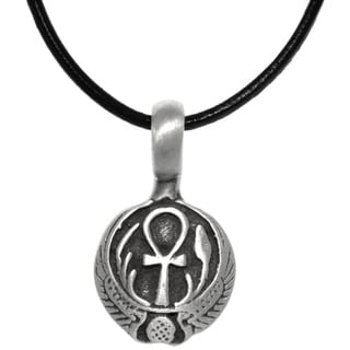 Carolina Glamour Collection Pewter Egyptian Ankh with Wings Long Life Pendant on Black Leather Necklace
