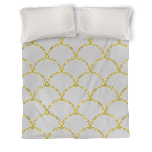 Art Deco Circles Grey and Yellow Duvet Cover