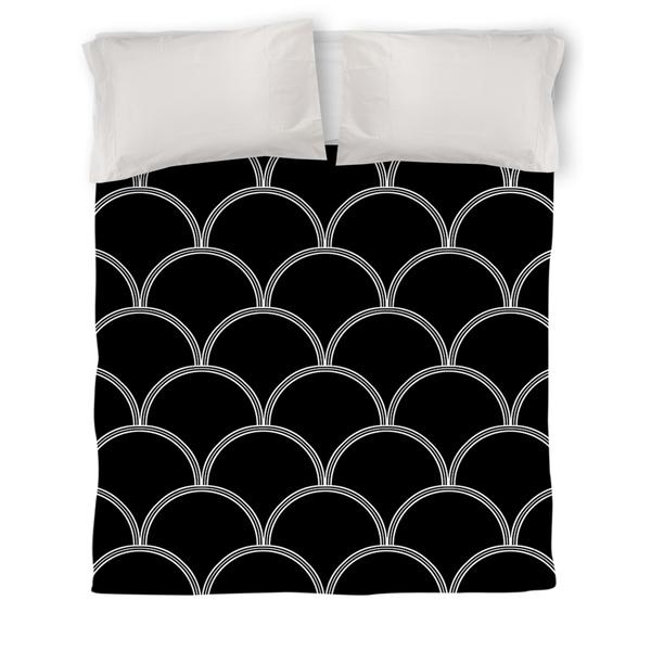 Art Deco Circles Black and White Duvet Cover
