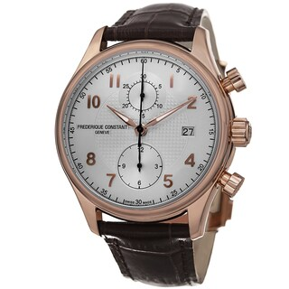 Frederique Constant Men's 'RunAbout' Silver Dial Brown Leather Strap Watch