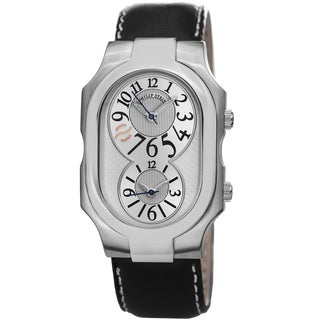 Philip Stein Men's 2-SIL-CSTB 'Signature' Silver Dial Black Leather Strap Dual Time Quartz Watch