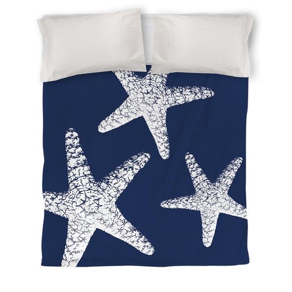 Nautical Nonsense White Blue Starfish Duvet Cover