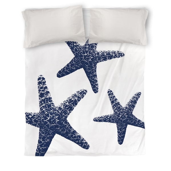 Nautical Nonsense Blue White Starfish Duvet Cover