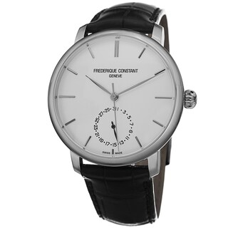Frederique Constant Men's 'Slim Line' Silver Dial Black Leather Strap Watch